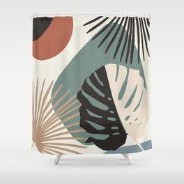 Minimal Yin Yang Monstera Fan Palm Finesse #1 #tropical #decor #art #society6 Shower Curtain