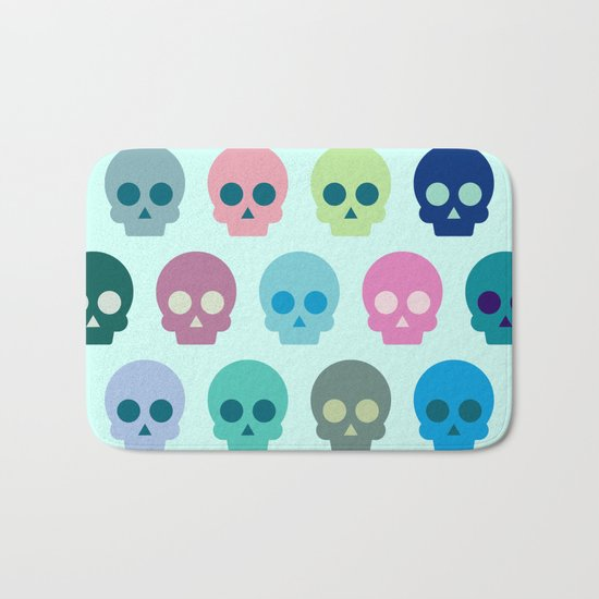 Colorful Skull Cute Pattern Bath Mat
