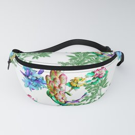 PEACOCK LILY ROSES TROPICAL BLOOM TOILE  PATTERN Fanny Pack