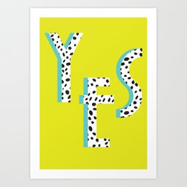 YES Poster | Lime Dalmatian Pattern Art Print