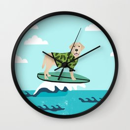 Yellow Labrador surfing dog breed art Wall Clock