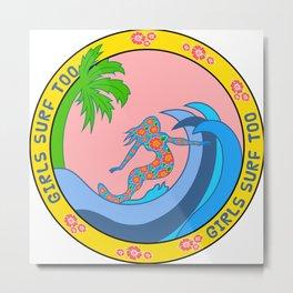 Girls Surf Too solid Metal Print