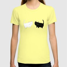 cats Womens Fitted Tee Lemon SMALL