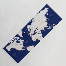 "Navy blue and light brown detailed world map ""Gavin"" Yoga Mat"