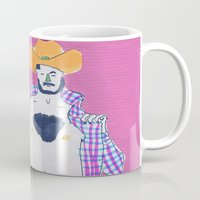 cowboy Mugs featuring cowboy by Maybe Mary