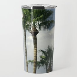 Palm Trees Floating in White Billowy Clouds Travel Mug