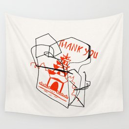 Chinese Food Takeout - Contour Line Drawing Wall Tapestry