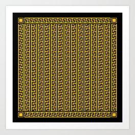 Greek Key Full - Gold and Black Art Print
