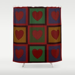 Old Time Hearts Shower Curtain