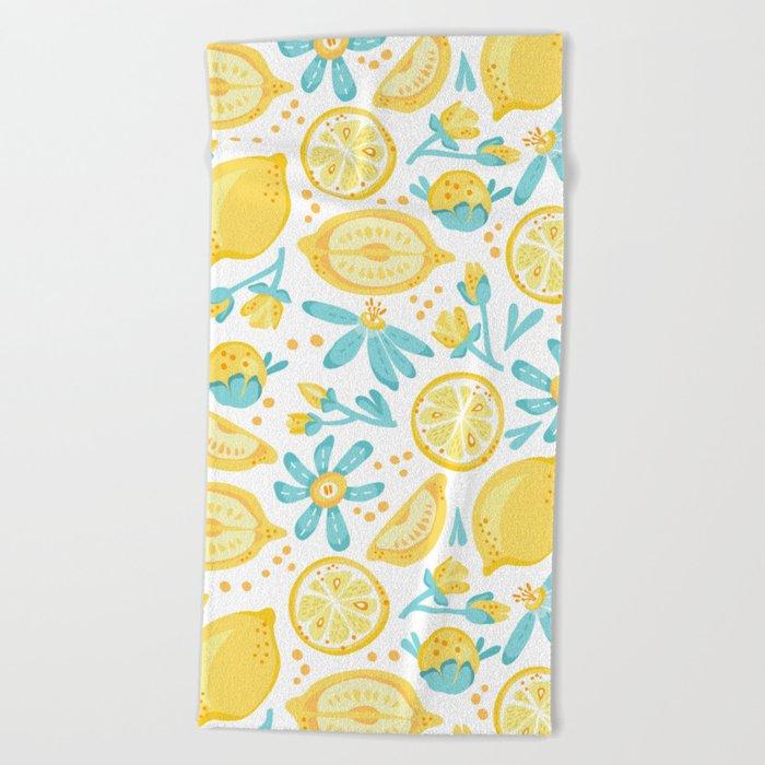 Lemon pattern White Beach Towel