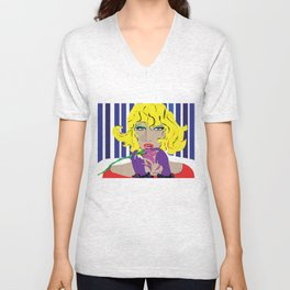 """Blonde Ambition"" Paulette Lust's Original, Contemporary, Whimsical, Colorful Art  Unisex V-Neck"