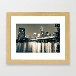 Austin Texas Skyline Over Lady Bird Lake - Sepia Edition Framed Art Print