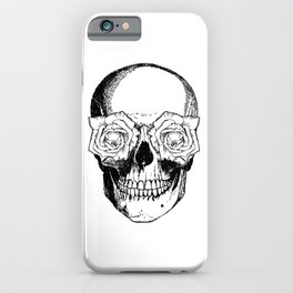 Skull and Roses | Skull and Flowers | Vintage Skull | Black and White | iPhone Case