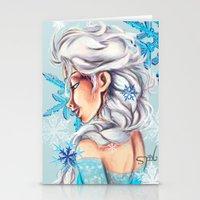 frozen elsa Stationery Cards featuring Elsa - Frozen by MissMachineArt