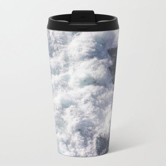 sea - midnight blue wave Metal Travel Mug