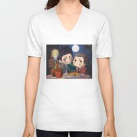 clueless V-neck T-shirts featuring The Stiles&TheTramp by MGNemesi