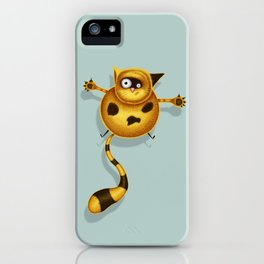 Flying Fat Cat | Grey Blue iPhone Case