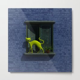 The Yellow Cat - Window By THE-LEMON-WATCH Metal Print