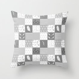 Magic Private School cheater quilt patchwork wizarding witches and wizards Throw Pillow