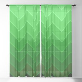 Gradient Green Zig-Zags Sheer Curtain