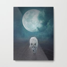 White Wolf Moon by GEN Z Metal Print