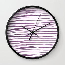 Irregular watercolor lines - ultra violet Wall Clock