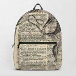 Book Art Octopus black & white Backpack