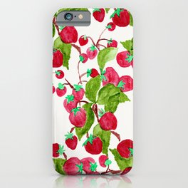 Watercolor hand painted red green strawberries iPhone Case