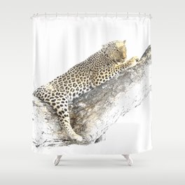 Lazy Leopard Shower Curtain