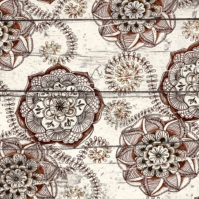 Coffee & Cocoa - brown & cream floral doodles on wood Comforters