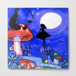 Trippy Original Alice in Wonderland by the Moon Mushroom Mixed Media Painting on Paper Metal Print