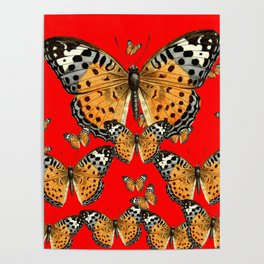 DECORATIVE RED COLOR ART & FLYING  BUTTERFLIES Poster