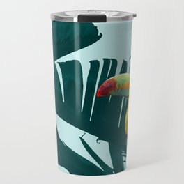 Green Toucan Tropical Banana Leaves Pattern Travel Mug