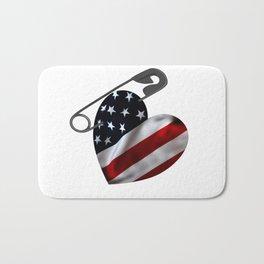 American Flag Heart Safety Pin Bath Mat
