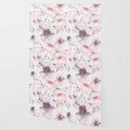Pastel Summer Flower Watercolor Pattern Wallpaper