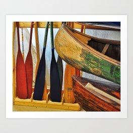 Oars and Canoes Art Print