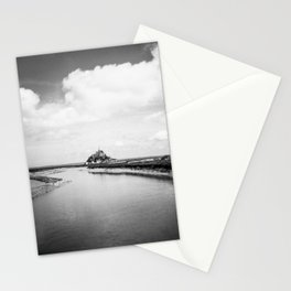 River View of the Island of Mont Saint-Michel in Black and White Stationery Cards