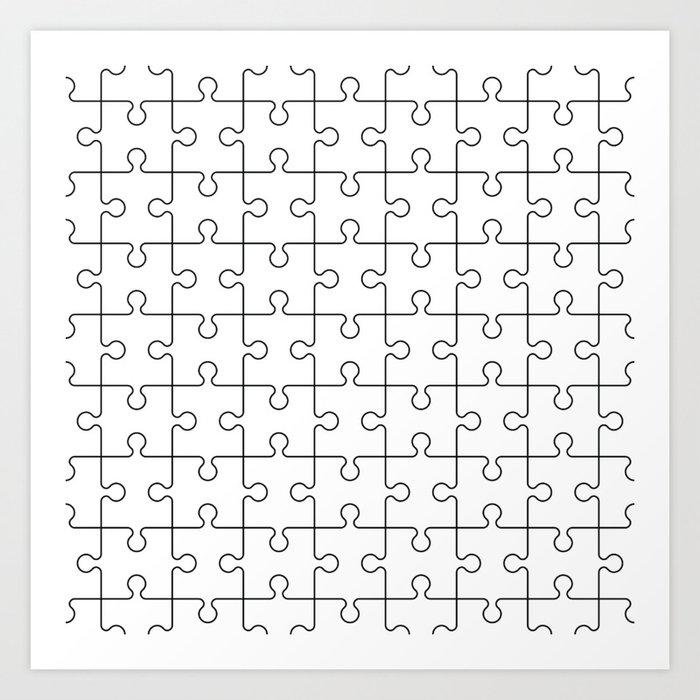 Puzzle Pieces Pattern Minimal White Art