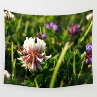 clover Wall Tapestries featuring White Clover by The Wellington Boot