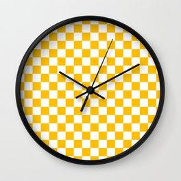 White and Amber Orange Checkerboard Wall Clock