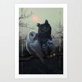 Owl Family Portrait Art Print