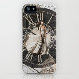 Roman-Inspired Fashion, Map, Time and Architectural Design iPhone Case