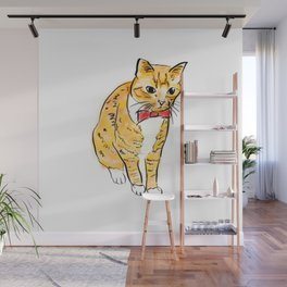 CAT WITH A BOW TIE Wall Mural