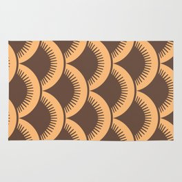 Japanese Fan Pattern Brown and Orange Rug