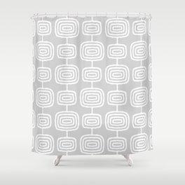 Mid Century Modern Atomic Rings Pattern 731 Gray Shower Curtain