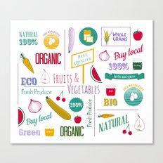 Farmers market pattern - white Canvas Print