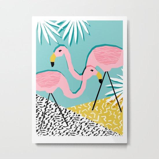 Bro - wacka design memphis throwback minimal retro hipster 1980s 80s neon pop art flamingo lawn Metal Print