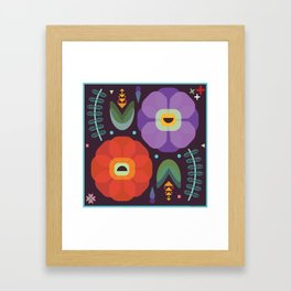 Flowerfully Folk Framed Art Print