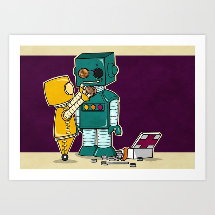 Robots on Friendship Art Print