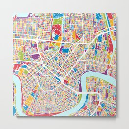 New Orleans Street Map Metal Print